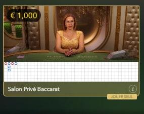 Live Baccarat Salon Privé pour joueurs VIP