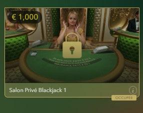 Live Blackjack Salon Privé pour joueurs VIP