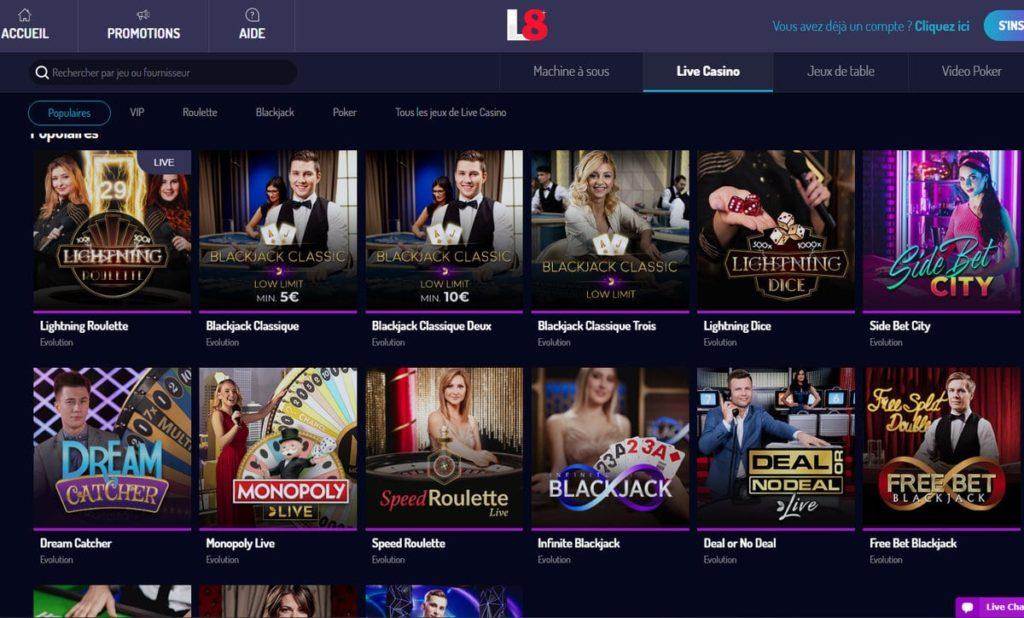 Casino en live Lucky8